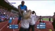 Usain Bolt CRASH! in a blonde girl
