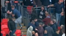 Millwall Hooligans fighting amongst themselves and the police at Wembley. 13-4-13