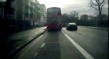 Horrifying moment man is kicked out of top deck of bus